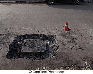 reparar, manhole, asfalto, ao redor