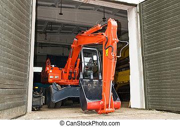reparar, maquinaria construção, serviço, trabalhos