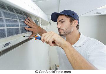 reparar, mid-adulto, ar, retrato, técnico, condicionador,...
