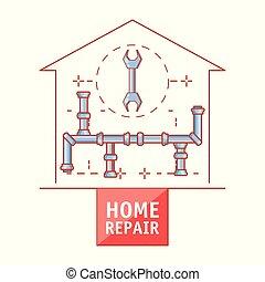reparar, oleoduto, ícones, casa, lar, estrutura