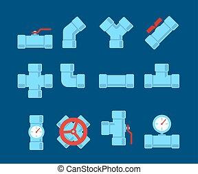 reparar, oleoduto, dreno, illustration., sewerage, set.,...