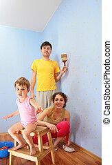 reparar, pais, sala, criança