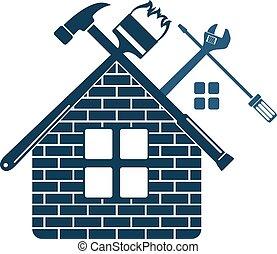 reparar, símbolo, manutenção, lar