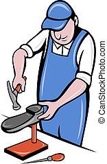 reparar, sapateiro, trabalho, sapateiro, sapato