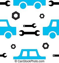 reparar, serviço, car, automático, seamless, padrão, ou