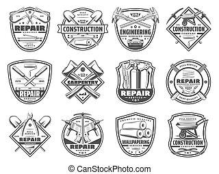 reparar, serviço, e, trabalho, ferramentas, ícones