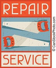 reparar, service., apartamento, cartaz, desenho, retro, style.