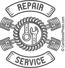 reparar, service., chaves, pistons.