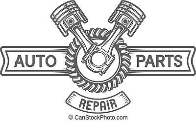 reparar, service., engrenagem, e, pistons.