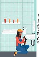 reparar, sink., mulher