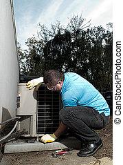reparar, sistema, ar, hispânico, condicionamento, manutenção, homem