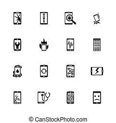 reparar, smartphone, apartamento, ícones, -, vetorial