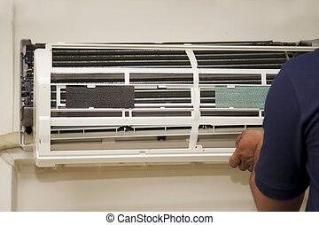 reparar, técnicos, condicionador ar
