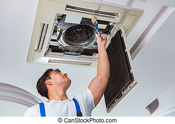reparar, teto, trabalhador, ar condicionado, unidade