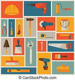 reparar, trabalhando, set., construção, ferramentas, ícone