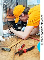 reparar, trabalho, ligado, refrigerador, dispositivo