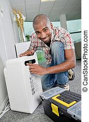 reparar, um, ar condicionado, unidade