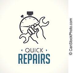 reparation, begrepp, -, hand, skiftnyckel, ikon
