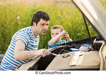 reparation, bil, fader, son