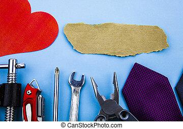 reparation, hjärta, tools., arbete, logera konstruktion, skiftnyckel, skruvmejsel, sandpaper., bra, papper, synhåll, skador, annons, länk, främre del, hem, klämmor, stycke, repair., man