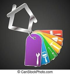 reparation, hus, symbol, verktyg