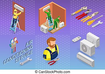 reparation, isometric, conditioning., concept., system, luft, interior