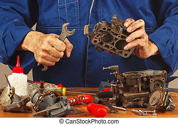 reparation, motor, gammal, bil, särar, verkstad, repairman