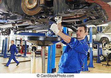 reparatur, auto, arbeit, mechaniker, auto, aufhängung
