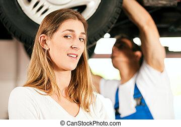 reparatur, auto frau, mechaniker