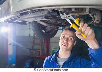 reparatur, auto, glücklich, mechaniker, zange