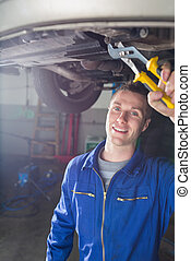 reparatur, auto, mann, mechaniker, glücklich