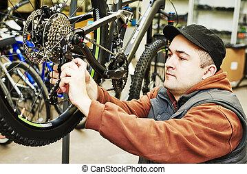 reparatur, einstellung, oder, fahrrad