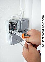 reparatur, elektriker, outlet