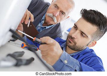 reparatur, erfahren, beruflich, luft, lernt, konditionieren,...