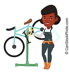 reparatur, fahrrad, arbeitende , shop., mechaniker,...