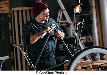 reparatur, fahrrad, arbeiter