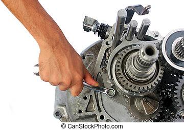 reparatur, fahrzeuggetriebe