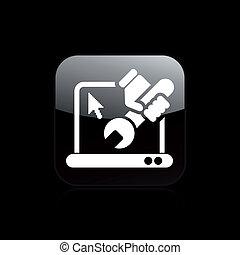 reparatur, freigestellt, abbildung, pc, ledig, vektor, ikone