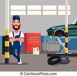 reparatur, grafik, besitz, service, wohnung, auto, garage., freigestellt, abbildung, wrench., vektor, design, mechaniker, diagnose, arbeiter, mann, karikatur, auto