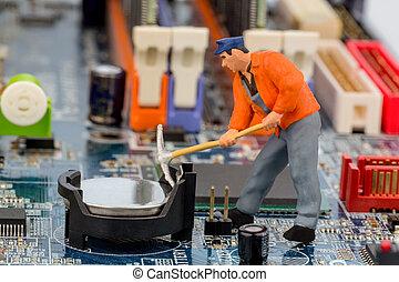 reparatur, hauptplatine, arbeiter, edv