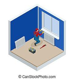 reparatur, isometrisch, wohnung, gebaut, heizkörper, arbeiter, concept., house., installieren, abbildung, heizung, vektor, klempner, wartung, professionell, neu, baugewerbe, oder, leeres zimmer