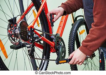 reparatur, kette, einstellung, oder, fahrrad