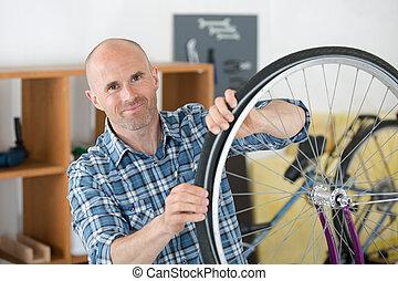 reparatur, laden, fahrrad, ausrüstung