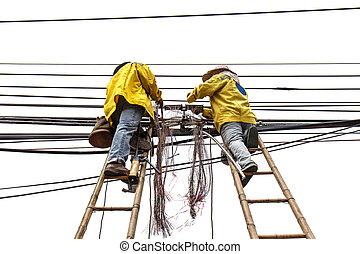 reparatur, leiter, arbeiter, telefonleitung, bambus