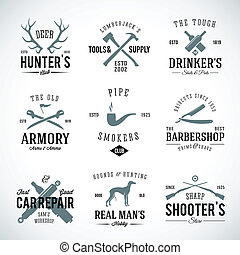 reparatur, männer, jagen, weinlese, etiketten, hund,...