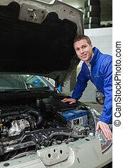 reparatur, ottomotor, mechaniker, glücklich