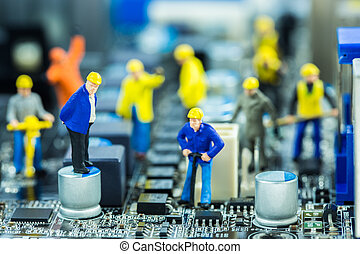 reparatur, reparatur, begriff, mannschaft, vorgesetzter, computerkreislauf, mutter, board., ingenieure