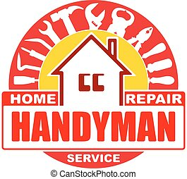 reparatur, satz, logo, gelber , design, daheim, gamma., dein...
