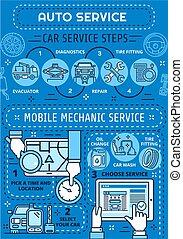 reparatur, service, diagnostisch, auto, mechaniker, auto