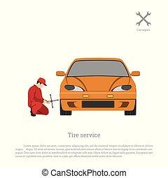 reparatur, service., ermüden, wheel., auto, maintenance., mechaniker, fahrzeug, ändern, workshop.